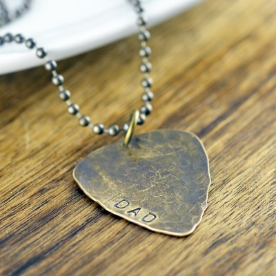 Mens Necklace, Guitar Pick Necklace, Dad Gift, Hand Stamped Jewelry, New Dad Gift, Fathers Day Gift, Dad Valentine, Gifts for Dad