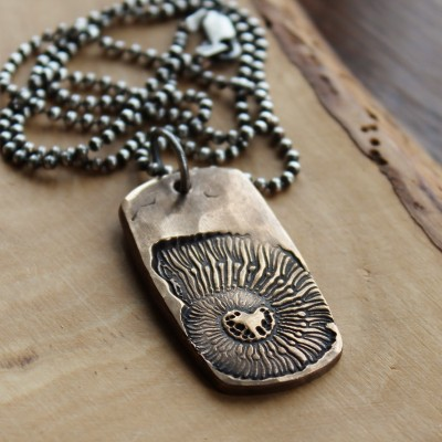 Men's Necklace Personalized, Nautilus Bronze Necklace, Bronze Gift, Custom Mens Necklace, Mens Silver And Bronze Necklace, Balance, Strength