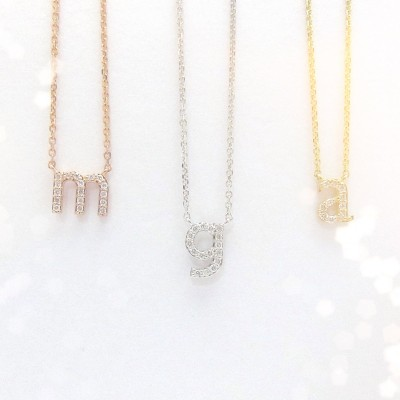Mini 18k Gold Diamond Initial Necklace / 18kt yellow, white, rose gold / Lowercase diamond letter necklace