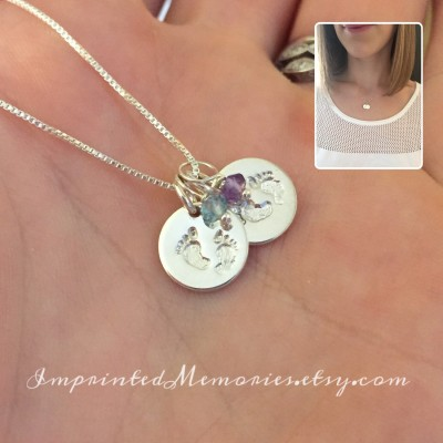 Miscarriage jewelry loss of two babies - loss of twins - stillborn necklace - in memory of two babies - 2 tiny sterling silver birthstones