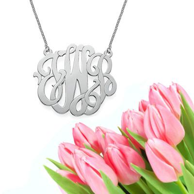 Modern Monogram Necklace (silver)