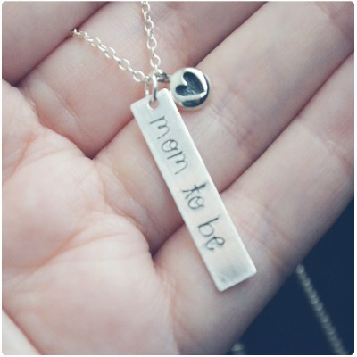 Mom-to-Be Necklace - Sterling Silver Expecting Mom Jewelry - Mother's Day 2017 Stamped Necklace - Layering Necklace - Baby Shower Gift