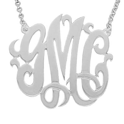 "Mono03 - 1.25"" Sterling SilverMonogram Necklace"