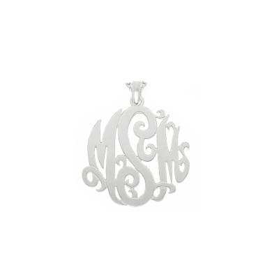 "Mono05 - Sterling Silver 1.5"" Monogram Necklace w/ Pendant Bail"