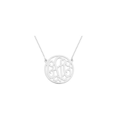 "Mono09 Personalized 1.25"" Sterling Silver Circle Monogram Necklace"