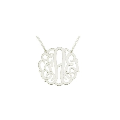 "Mono133w - White Rhodium Plated 1"" Sterling Silver Curly Monogram Necklace"