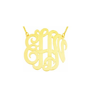 """Mono304 - Yellow Gold Plated 1.25"""" Sterling Silver Brush Finished Monogram Necklace"""