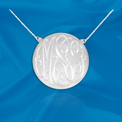 Monogram .75inch Sterling Silver Hand Engraved Monogram Initial Necklace - Made in USA