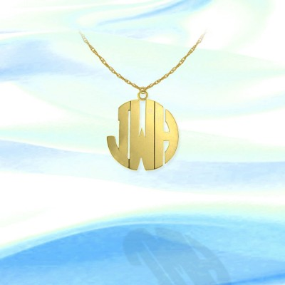 Monogram Necklace - .5 inch 18k Gold Plated Sterling Silver Handcrafted - Initial Monogram - Initial Necklace - Made in USA