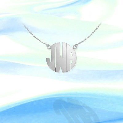 Monogram Necklace - .75 inch Sterling Silver Handcrafted - Personalized Initial Necklace - Made in USA