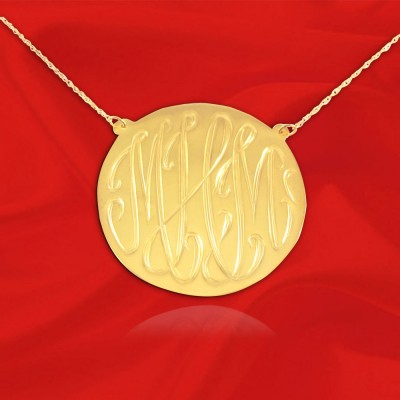Monogram Necklace - 1 inch 18k Gold Plated Sterling Silver Hand Engraved - Personalized Monogram Necklace - Made in USA