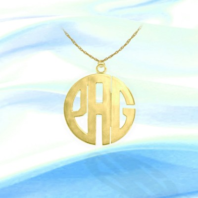 Monogram Necklace - 1 inch 18k Gold Plated Sterling Silver Handcrafted Initial Necklace - Made in USA