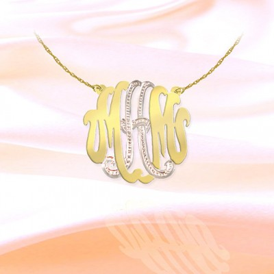 Monogram Necklace - 1 inch Sterling Silver 18k Gold Plated Handcrafted Two Tone Monogram Necklace - Made in USA