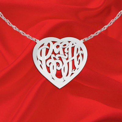 Monogram Necklace - 1 inch Sterling Silver Handcrafted Heart Border Monogram Necklace - Made in USA