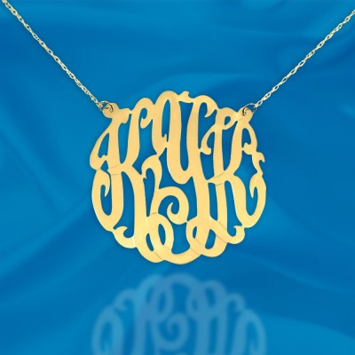Monogram Necklace - 1.25 inch 18k Gold Plated Sterling Silver Handcrafted Personalized Monogram Necklace - Made in USA