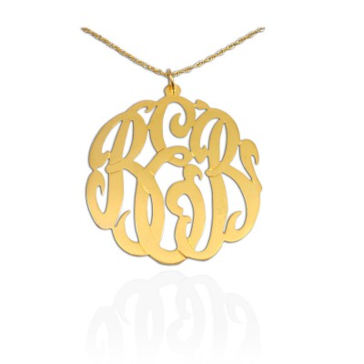 Monogram Necklace - 1.25 inch 18k Gold Plated Sterling Silver Personalized Monogram - Initial Necklace - Made in USA