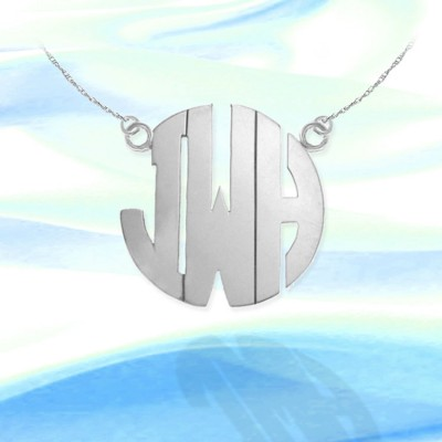 Monogram Necklace - 1.25 inch Sterling Silver Handcrafted - Personalized Monogram - Made in USA