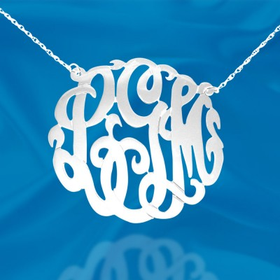Monogram Necklace - 1.5 inch Handcrafted Sterling Silver Monogram Initial Necklace - Made in USA