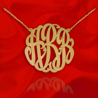 Monogram Necklace - 1.5 inch - 925 Sterling Silver 18k Gold Plated Handcrafted Designer Personalized Initial Necklace - Made in USA