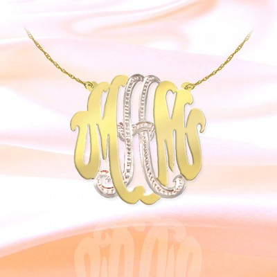 Monogram Necklace - 1.5 inch Sterling Silver 18k Gold Plated Handcrafted Two Tone Personalized Monogram - Initial Necklace - Made in USA