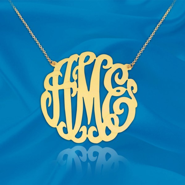 Monogram Necklace - 1.75 inch Personalized Monogram - Initial Necklace Sterling Silver 18k Gold Plated Handcrafted Monogram - Made in USA