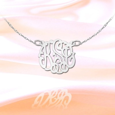 Monogram Necklace - .5 inch Sterling Silver Handcrafted Initial Necklace - Made in USA