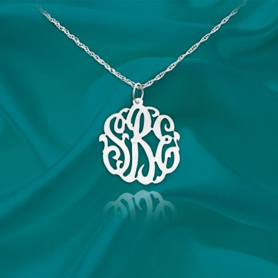 Monogram Necklace - .5 inch Sterling Silver Handcrafted Personalized Monogram Necklace - Made in USA