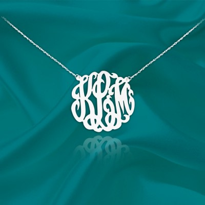 Monogram Necklace - .75 inch Monogram - Sterling Silver - Handcrafted Designer - Silver Initial Necklace - Made in USA