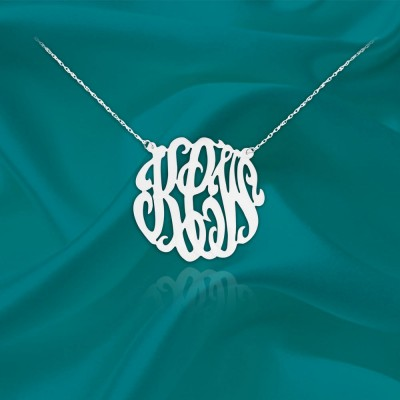 Monogram Necklace - .75 inch Monogram Initials - Sterling silver Handcrafted - Personalized Monogram - Initial Necklace - Made in USA