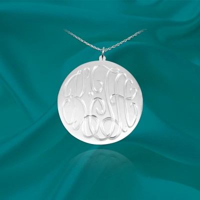 Monogram Necklace - .75 inch Sterling Silver - Hand Engraved Personalized Monogram - Initial Necklace - Made in USA