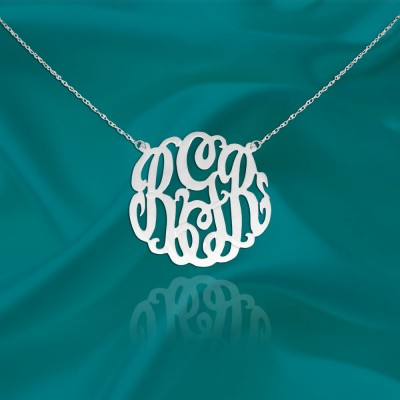 Monogram Necklace - .75 inch Sterling Silver Handcrafted Personalized Monogram Initial Necklace - Made in USA