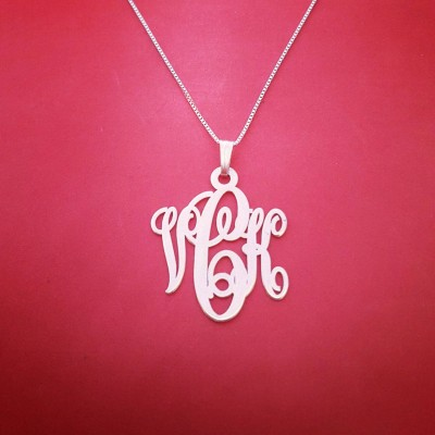 Monogram Necklace - Solid White Gold Monogram Necklace Personalized Necklace White Gold Monogram Name Necklace Monogrammed Necklace