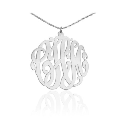 Monogram Necklace -1.5 inch Sterling Silver Initial Monogram Handcrafted Initial Necklace - Made in USA