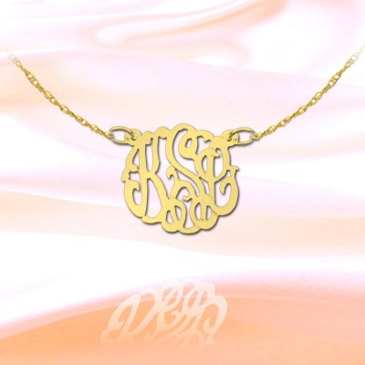 Monogram Necklace -.5 inch 18k Gold Plated Sterling Silver Personalized Monogram Handcrafted Designer Initial Necklace - Made in USA