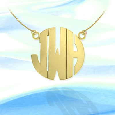 Monogram Necklace 1 1/2 inch 18k Gold Plated Sterling Silver Handcrafted Personalized Initial Necklace - Made in USA
