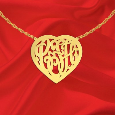 Monogram Necklace 1 inch 18k Gold Plated Sterling Silver Handcrafted Designer Heart Border Monogram Necklace - Made in USA