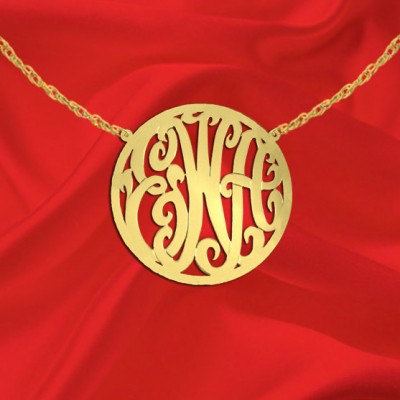 Monogram Necklace 1 inch 18k Gold Plated Sterling Silver Handcrafted Personalized Initial Monogram Circle Border - Made in USA