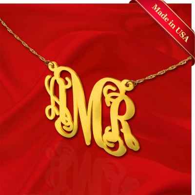 Monogram Necklace 1 inch 18k Gold Plated Sterling Silver Handcrafted Personalized Initial Necklace - Made in USA