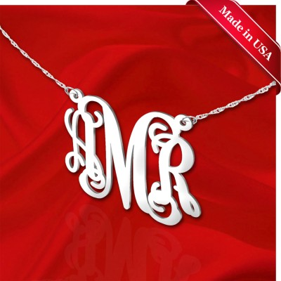 Monogram Necklace 1 inch Sterling Silver Handcrafted Personalized Initial Necklace - Made in USA