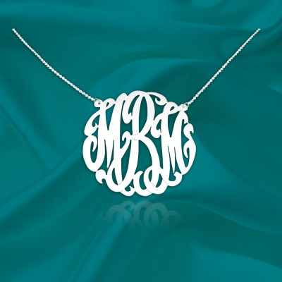 Monogram Necklace 1 inch Sterling silver Handcrafted Designer Personalized Monogram Initial Necklace - Made in USA