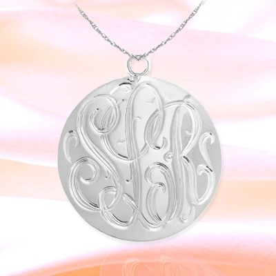Monogram Necklace 1.25 inch Sterling Silver Hand Engraved Personalized Initial Necklace - Made in USA