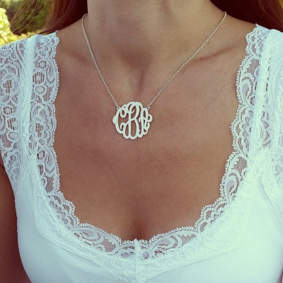 """Monogram Necklace, 1.2"""", Sterling Silver, Monogrammed Gifts, Personalized gift, Christmas Gift"""