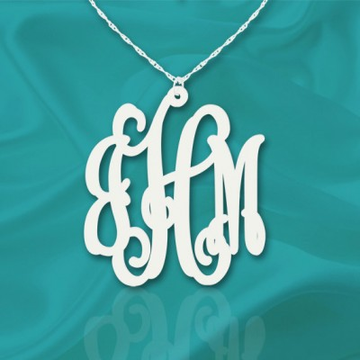 Monogram Necklace 1.5 inch Sterling Silver Handcrafted Personalized Initial Necklace - Made in USA
