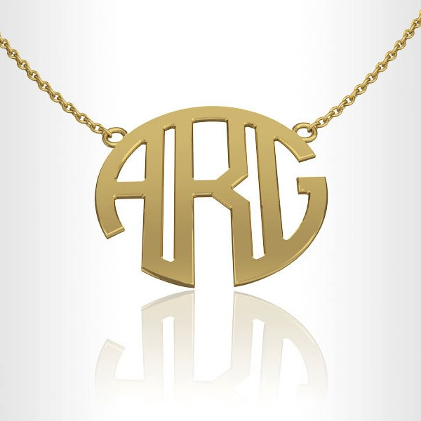 Monogram Necklace, Personalized necklace 18k Gold 1.0 inch gift for her, gifts for bridesmaids