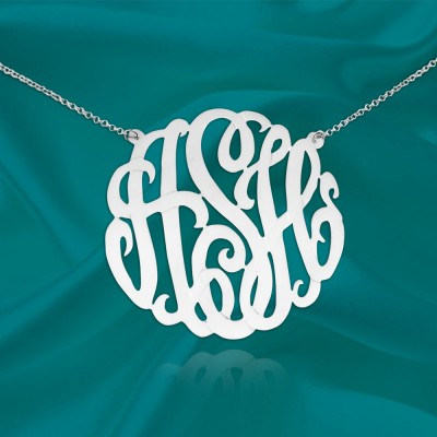 Monogram Necklace Silver 1.5 inch Personalized Initial Monogram Handcrafted Designer Initial Necklace - Made in USA