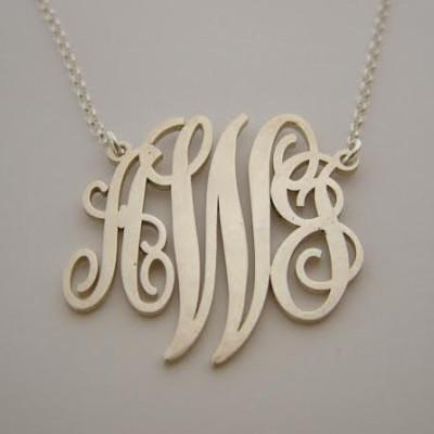 Monogram Necklace Silver Monogram Chain Birthday Gift Monogram Pendant Woman Holiday Gifts Silver Mongram Necklaces Monogram Necklaces