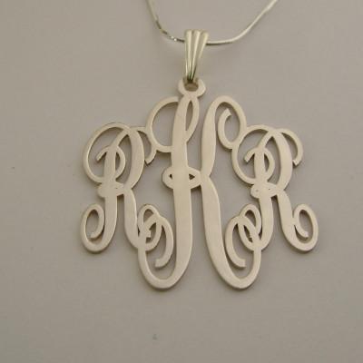 Monogram Necklace Silver Monogram Pendant Birthday Gift Monogram Name Plate Christmas Gifts Silver Mongrammed Necklaces Monogram Necklaces