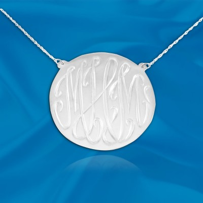 Monogram necklace - 1 inch Sterling silver Hand Engraved Designer Initial Necklace - Made in USA