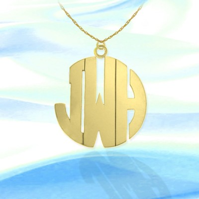 Monogram necklace - 1.25 inch Personalized Monogram 18k Gold Plated Sterling silver Handcrafted Initial Necklace - Made in USA