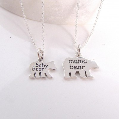 Mother Bear Baby Bear - Mother Daughter Necklace - Mommy Necklace